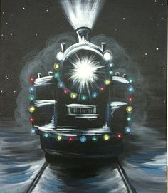 christmas train, use a battery tea light for headlight Christmas Train, Christmas Art, Diy Canvas, Canvas Art, Lighted Canvas, Christmas Paintings On Canvas, Wine And Canvas, Train Art, Winter Painting