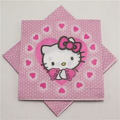 6eb6cbb71143 hello kitty 20pcs lot paper napkins Handkerchief happy birthday theme paper  towel tissue for kids baby shower party decor
