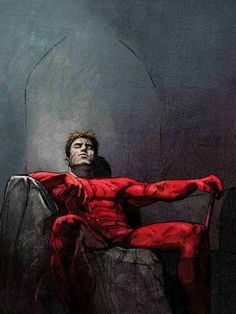 Daredevil ( Alex Maleev version). Maleev is my favorite artist to cover Daredevil to date.  This is a scene from my favorite run on the title to date, written by Brian Michael Bendis.