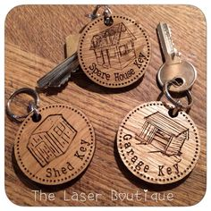 Custom Engraved Wooden Key Tags Custom Engraving, Laser Engraving, Wooden Key Holder, Laser Machine, Key Tags, Cute School Supplies, Cnc Projects, Wooden Coasters, Project Board