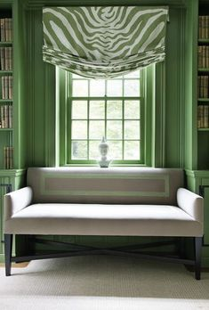 Green and white relaxed roman shade.Custom shades and draperies… My Living Room, Living Spaces, Relaxed Roman Shade, Living Colors, Color Of The Year 2017, Chinoiserie Chic, Custom Window Treatments, Green Rooms, Green Walls
