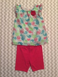 Healthtex Toddler Girls Sz 24m Tank Top Shorts Outfit Neon Pink Lime Paisleys B1  | eBay