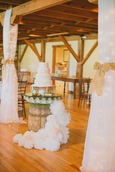 (Spring) We love to use the barrel for the wedding cakes http://media-cache5.pinterest.com/upload/237283474087127468_fqq6YYPu_f.jpg  pineola flowers and decorating