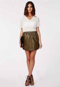 Missguided - Khaki Satin Pleated Tie Side Mini Skirt | SKIRT ...