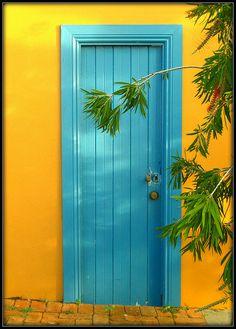 Slightly Guarded - Fremantle, Australia Entrance Gates, Grand Entrance, Blue Doors, When One Door Closes, Knobs And Knockers, Unique Doors, Closed Doors, Doorway, Stairways