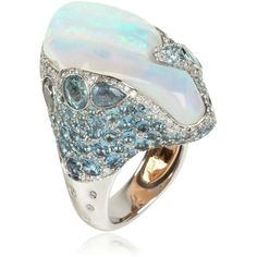 ITALIAN-DESIGN Ocean Breeze Ring (€40.865) ❤ liked on Polyvore featuring jewelry, rings, pandora jewelry, adjustable rings, band jewelry, italian design jewelry y engagement rings