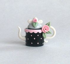 Miniature Black Polka Dots  Rose Bud Teapot by ArtisticSpirit