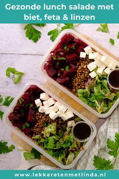 Gezonde lunch salade recept voor mee te nemen naar het werk.