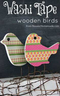 Washi Tape Wooden Birds :: Spring Craft on HoosierHomemade.com