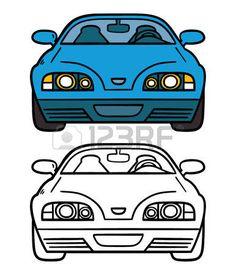voiture bleue. Vector illustration page de coloration de bande dessin�e voiture bleue pour les enfants et livre de ferraille photo