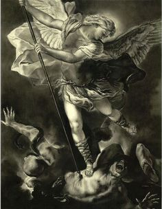 Michael Art Print featuring the drawing St. Michael Vanquishing The Devil by Tyler Anderson St. Michael Tattoo, Archangel Michael Tattoo, Vs Angels, Guardian Angels, Angels And Demons, Tatouage Hercules, Los Muertos Tattoo, St Micheal, Michael Art