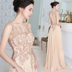 Pink Beading Sequined Flowers Backless Sleeveless Floor-length Evening Dress Bride Dress Long Engagement Dresses