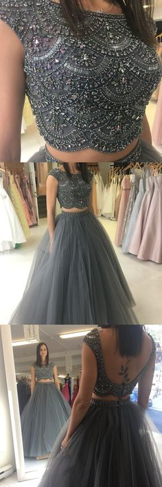 ball gown, two piece prom dresses, beaded grey long prom dresses, 2018 prom dresses, party dresses, sweet 16 dresses #promlonggown #partydress