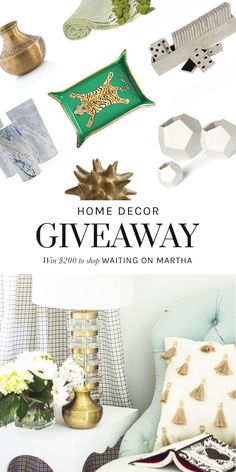 Enter to win $200 to shop @waitingonmartha's chic selection of home decor, entertaining, and accessories giveaway via Thou Swell @thouswellblog