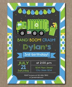 Garbage Truck Birthday Invitation Garbage Truck by PixeleenDesigns