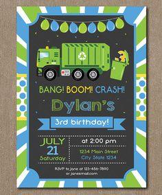 Garbage Truck Birthday Invitation Garbage Truck by PixeleenDesigns