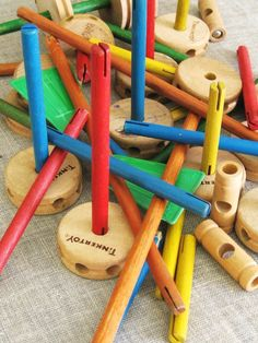 Tinkertoys. My kids spent many hours constructing things with these wooden sticks and wheels. Creative entertainment