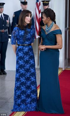 US first lady Michelle Obama and the prime minister's wife Samantha Cameron attend a mini-Olympics event for children Barrack And Michelle, Michelle And Barack Obama, Michelle Obama Pictures, Samantha Cameron, Us First Lady, Michelle Obama Fashion, Marchesa Gowns, Great Women, Fashion News