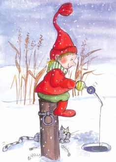 a Illustration Noel, Winter Illustration, Illustrations, Christmas Rock, Christmas Pictures, Christmas Cards, Winter Magic, Naive Art, Winter Cards