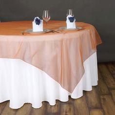 "90"" x 90"" Orange Organza Table Square Overlay Rainbow Wedding Decorations, Rainbow Wedding Dress, Paper Decorations, Parties Decorations, Black Tablecloth, Floral Tablecloth, Table Overlays, Mothers Day Decor, Orange Table"