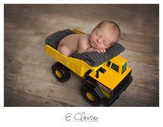 Newborn posing baby in dumptruck Construction newborn photo Evie Claire Photography l Baltimore, MD Newborn photographer Maternity photographer