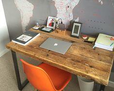 Industrial Chic Reclaimed Custom Hairpin Leg Office Desk by RCCLTD