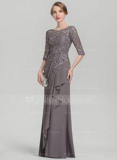 Corte A/Princesa Escote redondo Hasta el suelo Gasa Encaje Vestido de noche con Cascada de volantes (017144979) - JenJenHouse
