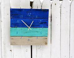 OCÉANO azul pared reloj playa casa estilo. Reloj de madera reciclada de palets.