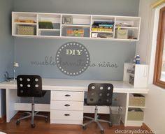 decora y adora: DIY Office Furniture Design, Workspace Design, Home Office Space, Home Office Decor, Kids Desk Organization, Teen Boy Rooms, Computer Nook, Boys Desk, Built In Desk