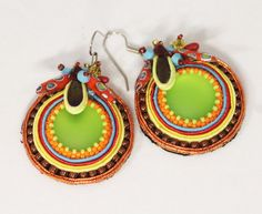 Round Colorful Festive Soutache Earrings - Unique and Stylish Handmade Soutache Earrings with Gems by TakhisisArtshop on Etsy