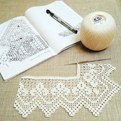 Crochet Edging And Borders Hand crocheted border, filet crochet lace trim, linear or turning edge for home decor, wide lace border, cream fine crochet handmade edging - Crochet Sheep, Crochet Lace Edging, Crochet Borders, Crochet Diagram, Crochet Doilies, Hand Crochet, Crochet Patterns, Crochet Edgings, Crocheted Lace