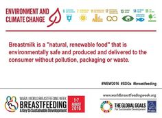 World Breastfeeding Week 2016. Theme 3: Environment and Climate Change. Human milk is good for the Earth. #WBW2016 #SDGs #breastfeeding #nutritioncareofrochester #fact1