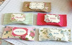 Chocolate Favors:  Cover wrapped chocolate using Scrapbook paper, Sticky Strip, and the Crimper Tool.