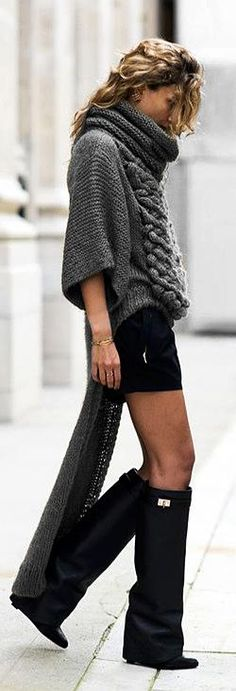 this is how i dress if i was like a model. Givenchy Boots *GIVENCHY Black Leather Shark Lock Wedge Boots + that sweater! Looks Cool, Looks Style, Style Me, Knit Fashion, Look Fashion, Womens Fashion, Street Fashion, Vic Beckham, Mode Shorts