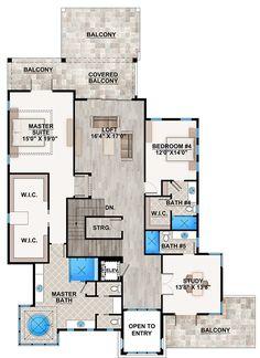 House Plan 75973 Coastal Florida Mediterranean Modern Plan with