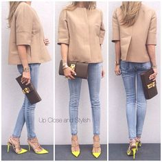 #Marni jacket, #JBrand jeans, #Valentino shoes and #Hermès #Medor clutch (in color tundra).