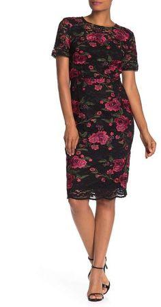 Trina Turk Ana Sofia Floral Embroidered Lace Sheath Dress Short Sleeves, Short Sleeve Dresses, Rose Embroidery, Lace Sheath Dress, Trina Turk, Embroidered Lace, Feminine Style, Nordstrom Dresses, Cold Shoulder Dress