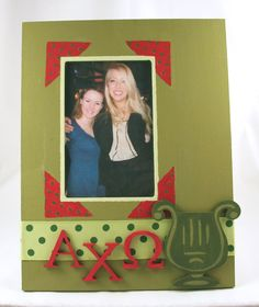 Alpha Chi Omega frame. 8 x 10. Sorority sister gift idea. Made with supplies from DIYGreek.com, wooden greek letters, ribbon, paint, wooden lyre cut out, stencil