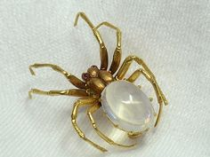 Antique Yellow Gold Moonstone Spider Brooch. $1,850.00, via Etsy.