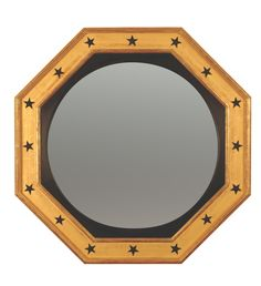 Regency Octagonal Convex Mirror Decorated with Black Stars Convex Mirror, Custom Mirrors, Black Star, Vintage Inspired, Antiques, Regency, Inspiration, Stars, Design