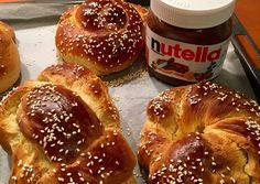 Easy Desserts, Bagel, Doughnut, Nutella, Food To Make, Cake Recipes, Deserts, Food And Drink, Cooking Recipes