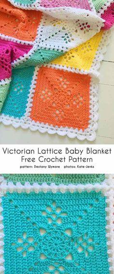 Victorian Lattice Baby Blanket Free Crochet Pattern Victorian L… – Granny Square Crochet Pattern Free, Knitting Patterns Free, Baby Knitting, Knitting Stitches, Knitting Yarn, Free Knitting, Free Sewing, Knit Patterns, Free Baby Blanket Patterns