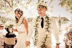 Bridesmaids Surrounding Bride Tahiti Wedding Ceremony on a beach ...