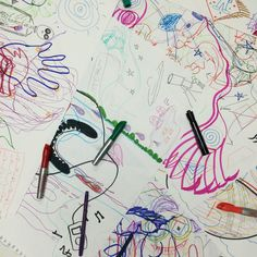 In this week's #GroupMind, we participated in a fun activity of drawing for 60 seconds and passing the paper. This exercised thoughts about how future collaborators would contribute to the piece.