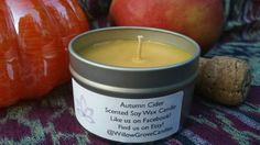 Autumn Cider Scented Soy Wax Candle by WillowGroveCandles on Etsy