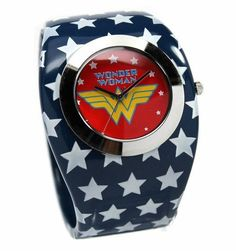 I am Diana, princess of the Amazons and this is my bangle watch. This Wonder Woman watch that is a young adult / adult sized watch that features the Wonder Woman logo. Uses Japan movement. Stainless steel caseback. The bracelet is of blue metal bangle with white stars and the Wonder Woman logo against a dial. Perfect for the Wonder Woman in your life. Watch case measures about 1.8 inches in diameter. Bracelet is 1.10 inches wide. Watch is shipped with a crown stopper, protective film of the…