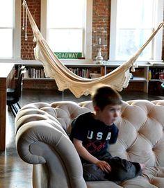 Love the idea of a hammock inside! Also, the deep button tufting on that chesterfield? Hammock Tent, Indoor Hammock, Hammocks, Hammock Ideas, Living Room Hammock, Living Room Sofa, Bedroom Hammock, Living Rooms, Living Room Inspiration