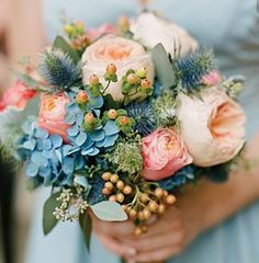 bouquet inspiration with bluish gray succulents, dusty miller and white Panda anemones added...blush peonies will also be in the bride's bouquet