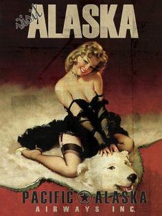 vintage alaska airlines poster | ALASKA AIRLINES Vintage Travel Art Poster Print Pacific Pimup Girl ...