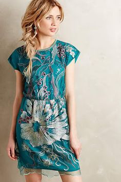 This beautiful Anthropologie dress would be amazing for Bridesmaids next to a mint wedding gown.